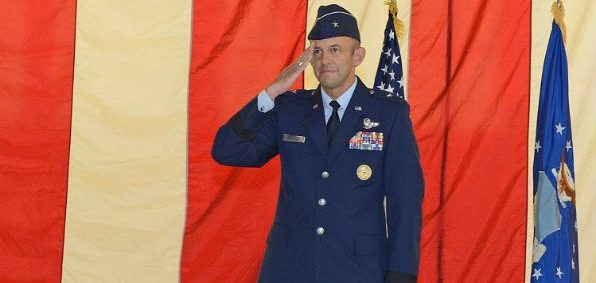 Brig. Gen. John Teichert gives his first salute to his workforce after assuming command of the 412th Test Wing July 18 at Edwards Air Force Base. (Kenji Thuloweit/Air Force)