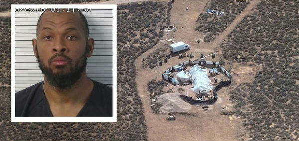 Siraj Ibn Wahhaj and the New Mexico compound where he was arrested with four other adults for allegedly training children in squalid living conditions to carry out school shootings (WSB-TV, Atlanta)