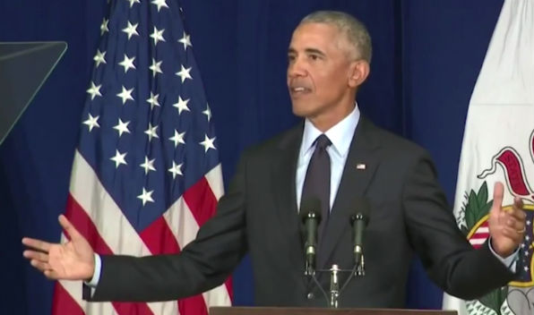 Former President Obama speaks at the University of Illinois at Champaign-Urbana on Sept. 7, 2018 (Cspan screenshot)