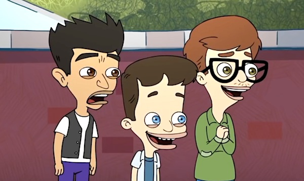 "Excited boys watching a girl run in Netflix's ""Big Mouth."" (Video screenshot)"