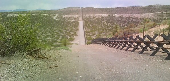 Vehicle barrier on the U.S.-Mexico border (Wikimedia Commons)