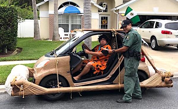 'Fred Flintstone' cited for speeding in 'footmobile'