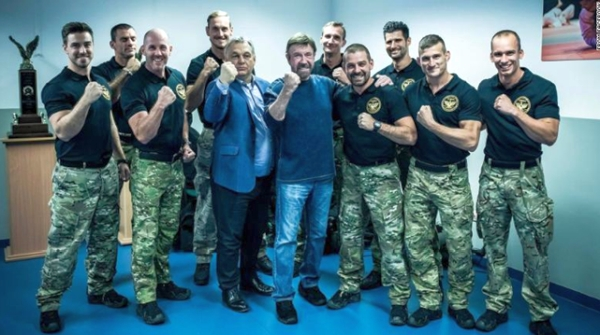 Chuck Norris with elite Hungarian anti-terrorist forces, Nov 2018