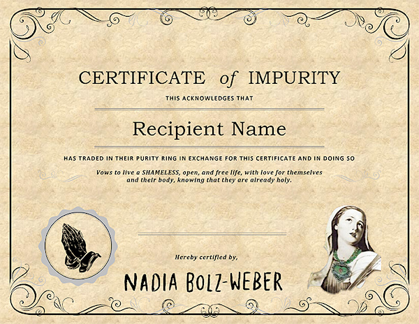 certificate-of-impurity-Nadia-Bolz-Weber-600