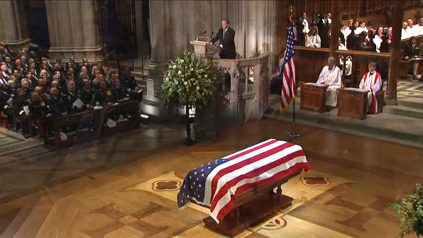 Former President George W. Bush speaks at the funeral of his father, former President George H.W. Bush, Dec. 5, 2018 (video screenshot).