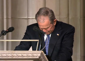 Former President George W. Bush is overcome with emotion as his concludes his eulogy for his father, Dec. 5, 2018 (video screenshot)