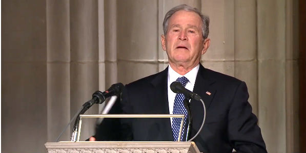 An emotional former President George W. Bush concludes his eulogy for his father, the 41st president, at the National Cathedral in Washington, D.C., Dec. 5, 2018. (video screenshot)