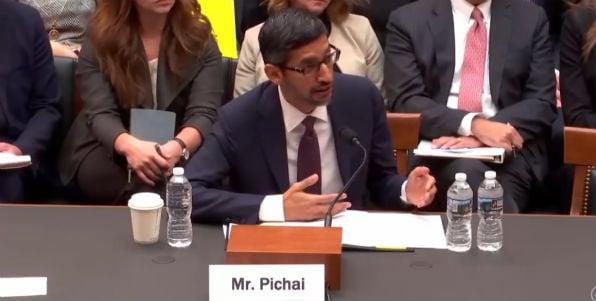 Google CEO Sundar Pichai testifies in a House hearing Dec. 11, 2018 (video screenshot)