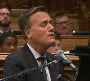 "Contemporary Christian recording artist Michael W. Smith, a longtime friend, sang at President George H.W. Bush's request his song ""Friends"" at the 41st president's state funeral Dec. 5, 2018 (video screenshot)."