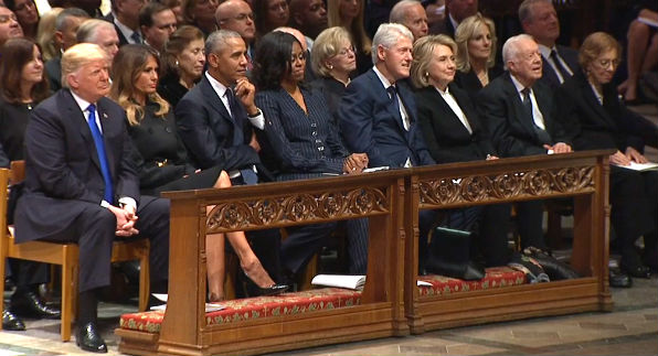Presidents Trump, Obama, Clinton and Carter were among the five living current or former presidents at the funeral of President George H.W. Bush in Washington, Dec. 5, 2018. (video screenshot)