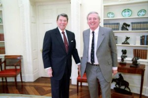President Reagan meeting with William F .Buckley Jr. in the Oval Office in 1988 (Wikimedia Commons)