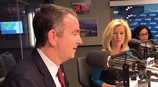 Gov. Ralph Northam, D-Va., appearing on WTOP Radio on Wednesday, Jan. 30, 2019 (Video screenshot)