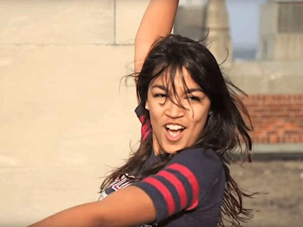 Alexandria Ocasio-Cortez dancing in a video as a student (YouTube screenshot)