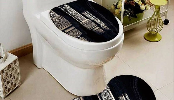 Toilet-seat cover and mat for sale on Amazon.com