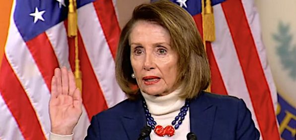 House Speaker Nancy Pelosi, D-Calif., at a news conference Jan. 17, 2019 (video screenshot)