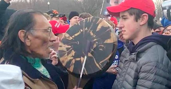Nathan Phillips and Nick Sandmann (YouTube screenshot)