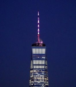 One World Trade Center in New York City illuminated in pink in the wake of the state's expansion of abortion rights on Jan. 22, 2019. (Twitter)