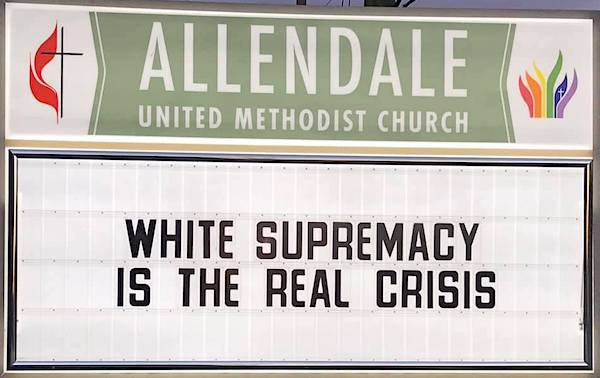 A sign at the Allendale United Methodist Church in St. Petersburg, Florida, Jan. 15, 2019