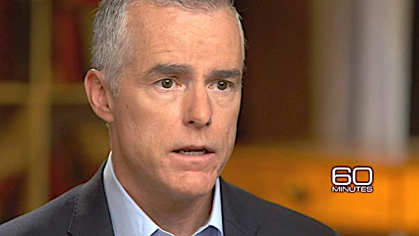 "Andrew McCabe appearing CBS' ""60 Minutes"""