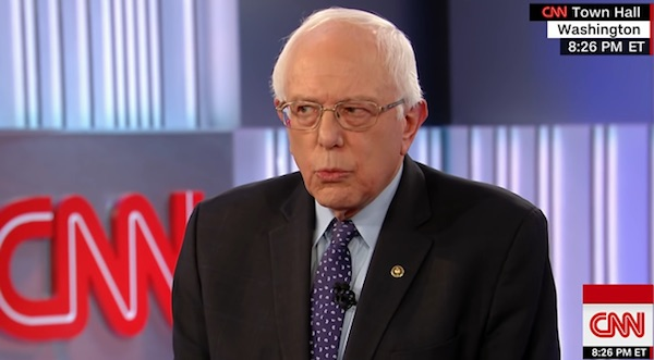 Bernie Sanders at a CNN town-hall meeting (screenshot)