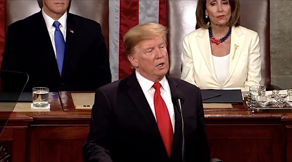 President Donald Trump delivers his State of the Union address on Feb. 5, 2019 (WhiteHouse.gov video screenshot)