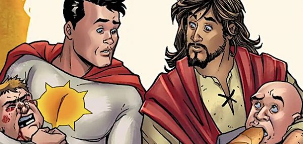 Sun-Man and Jesus Christ in artwork for the canceled Second Coming comic. (DC Comics)
