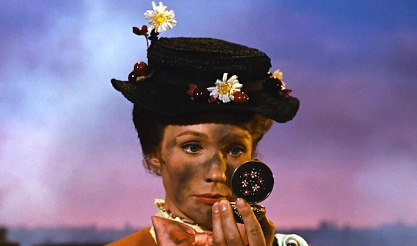 "Julie Andrews applying soot to her face in ""Mary Poppins"" (courtesy Disney)"