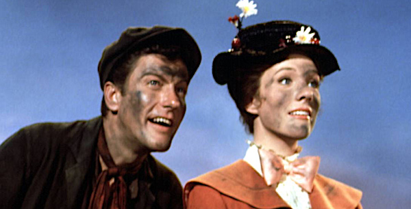 "Dick Van Dyke and Julie Andrews with soot on their faces in Disney's ""Mary Poppins"""