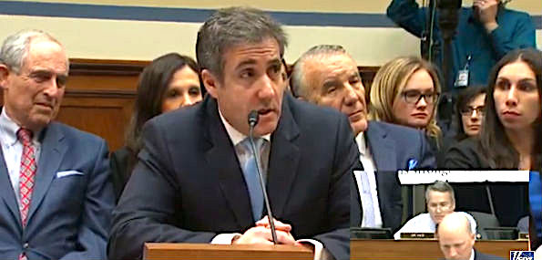 Former Trump lawyer Michael Cohen testifies to the House Oversight and Government Reform Committee Feb. 27, 2019 (Screenshot)
