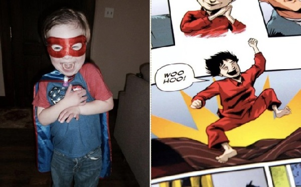 "Ollie Reece (left) and the comic book character (right) from the original book his dad wrote, ""Metaphase."" Photo: Chip Reece"