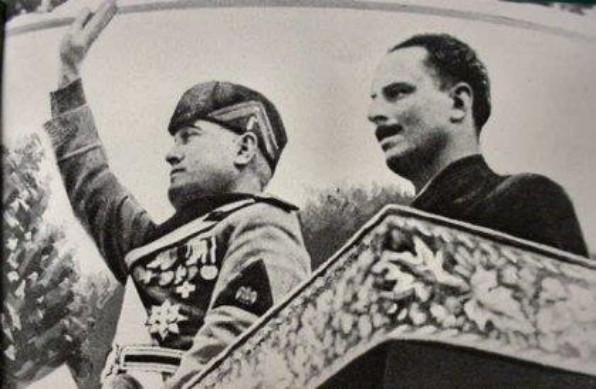 Italy's Benito Mussolini, left, with Oswald Mosley in a visit to Italy in 1936.