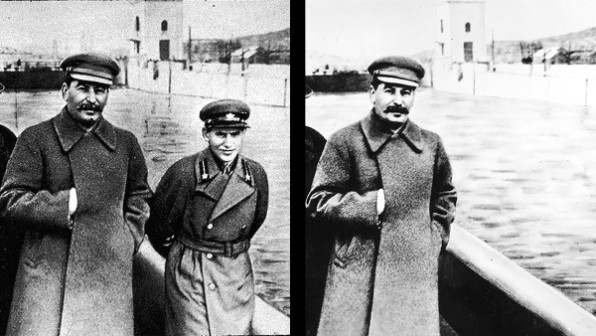 During his Great Purge, Stalin infamously had Avel Enukidze, a onetime member of Communist Party's governing body, erased from a 1934 photo after being executed as an enemy of the state.