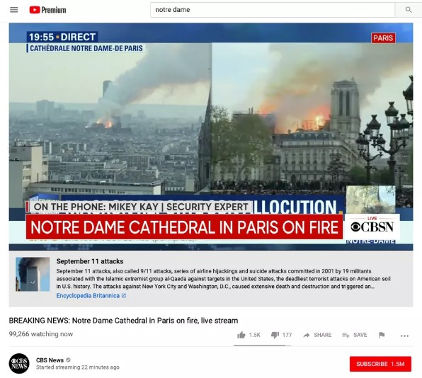 A YouTube algorithm placed an explanation of the 9/11 attacks beneath broadcasts of the Notre Dame fire (Screenshot)