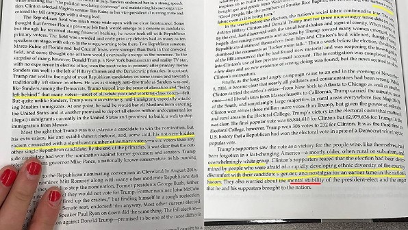 "The Advanced Placement high school history textbook ""By the People: A History of the United States"" spotlights claims of concern about President Trump's 'mental stabliity' (ToddStarnes.com)"