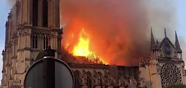 Notre Dame Cathedral in Paris, France, engulfed in fire April 15, 2019 (Video screenshot)