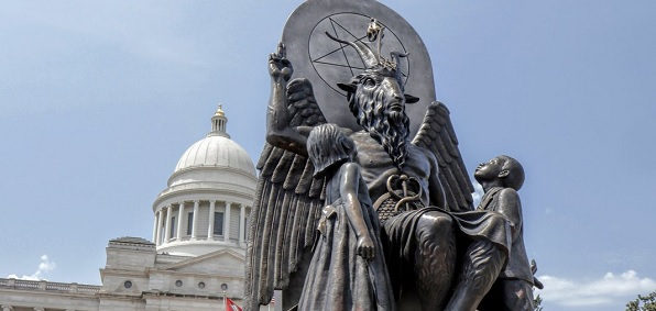 "The Satanic Temple's Baphomet monument in front of the state capitol building in Little Rock, Arkansas (Courtesy Magnolia Pictures film ""Hail Satan?"""