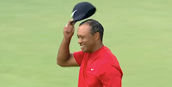 Tiger Woods wins the Masters on April 14, 2019 (CBS video screenshot)