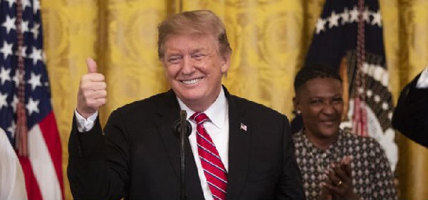 President Trump celebrates the passage of the criminal justice reform First Step Act in the East Room at the White House on April 2, 2019. (White House photo)