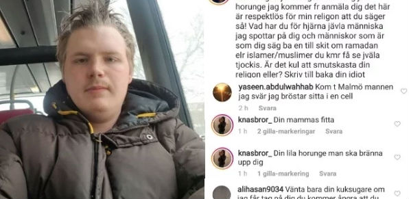 Swedish blogger Fredrik became the target of death threats after posting a joke about Ramadan.