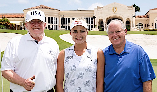 President Donald Trump, left, golfs with professional golfer Lexi Thompson and talk-radio host Rush Limbaugh (White House photo)