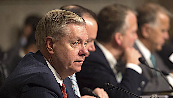 U.S. Sen. Lindsey Graham, R-S.C., left, listens as Defense Secretary Ash Carter testifies on the Defense Department's proposed fiscal year 2017 budget before the Senate Armed Services Committee in Washington, D.C., March 17, 2016. (DoD photo by Air Force Senior Master Sgt. Adrian Cadiz)