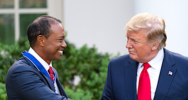 Tiger Woods receiving the Presidential Medal of Freedom from President Donald Trump on May 6, 2019 (Official White House photo)