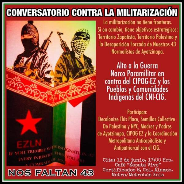Poster for Decolonize this Place action in Mexico