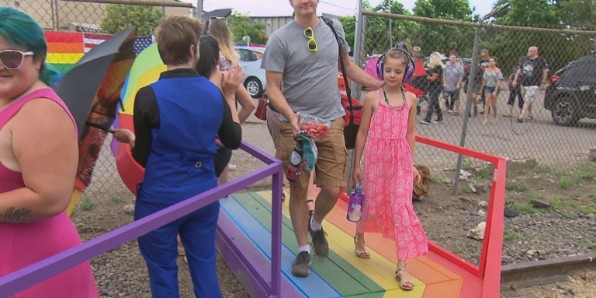 Amid protests, parents escorted children to an all-ages drag-queen show in Denver on July 5 (CBS4 Denver)