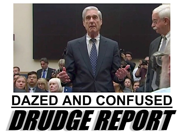 "A screenshot of the Drudge Report on Wednesday, July 24, 2019 reflects Robert Mueller's ""dazed and confused"" testimony before Congress."