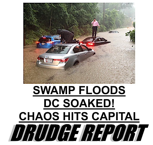 The Drudge Report's lead story on Monday, July 8, 2019, featured heavy flooding in the Washington, D.C., area. (Drudge Report screenshot)