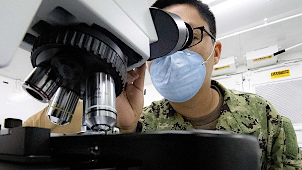 [microscope-science-scientists-coronavirus-research-face-masks-military-defense]