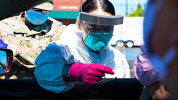 [coronavirus-face-masks-shield-covid-19-testing-swabbing-military-defense]